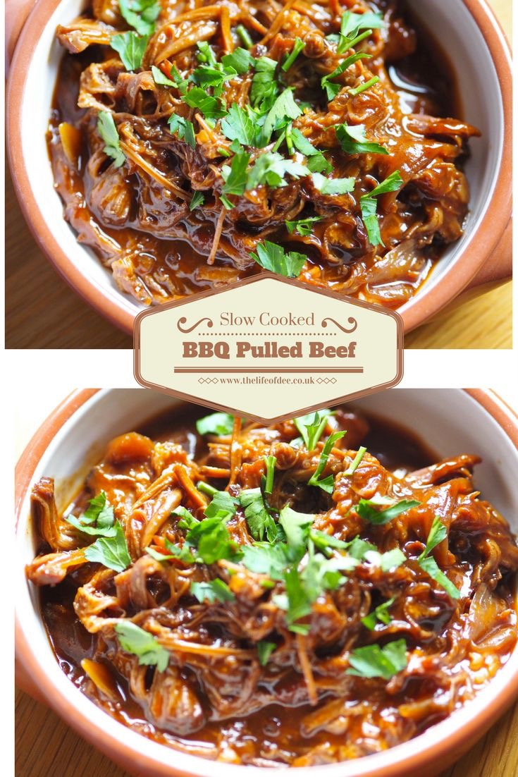 Slow Cooked BBQ Pulled Beef  - Tasty Slow Cooker recipe.  Tender Pulled Beef in a tangy bbq sauce.  #slowcooker #beef #recipe