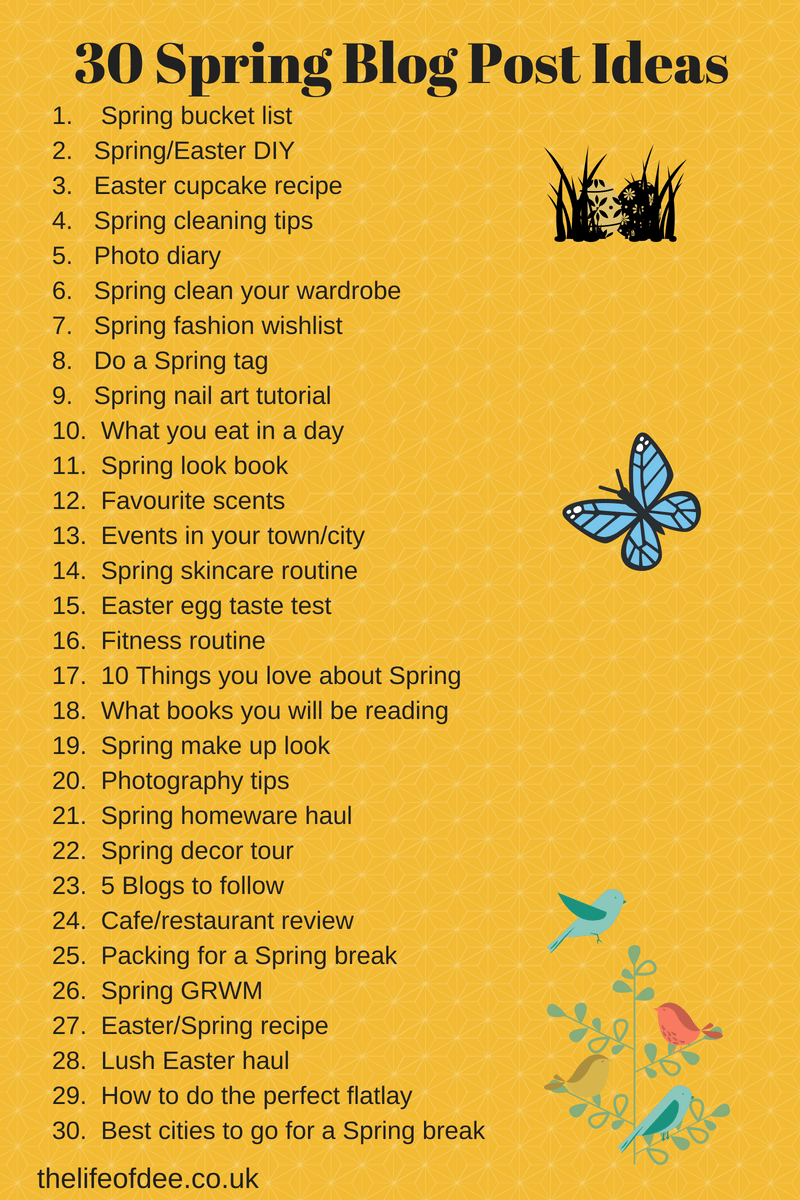 30 Spring Blog Post Ideas