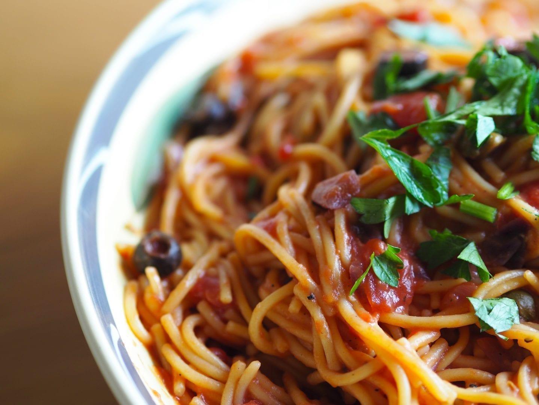 Gluten free Vegetarian Spaghetti Puttanesca