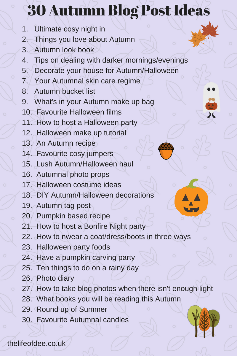30 Autumn Blog Post Ideas