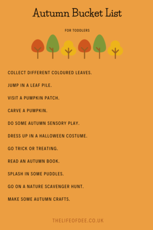 Autumn Bucket List For Toddlers | Have fun checking off the things on this Autumn Bucket List For Toddlers