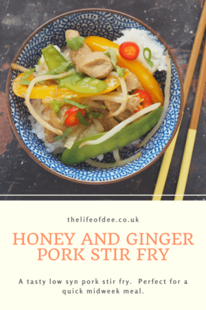 Honey and Ginger Pork Stir Fry | This tasty low syn dish is perfect for a quick midweek meal. Crispy stir fried veg with delicious pork strips serve with rice or noodles.