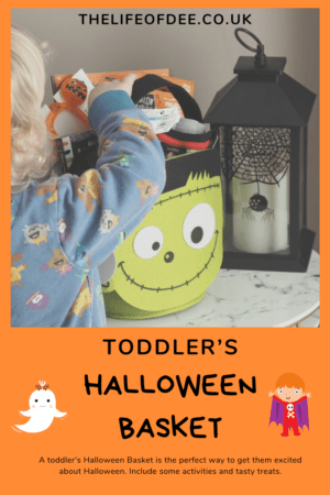 Toddler's Halloween Basket | A toddler's Halloween Basket is the perfect way to get them excited about Halloween. Include some activities and tasty treats.