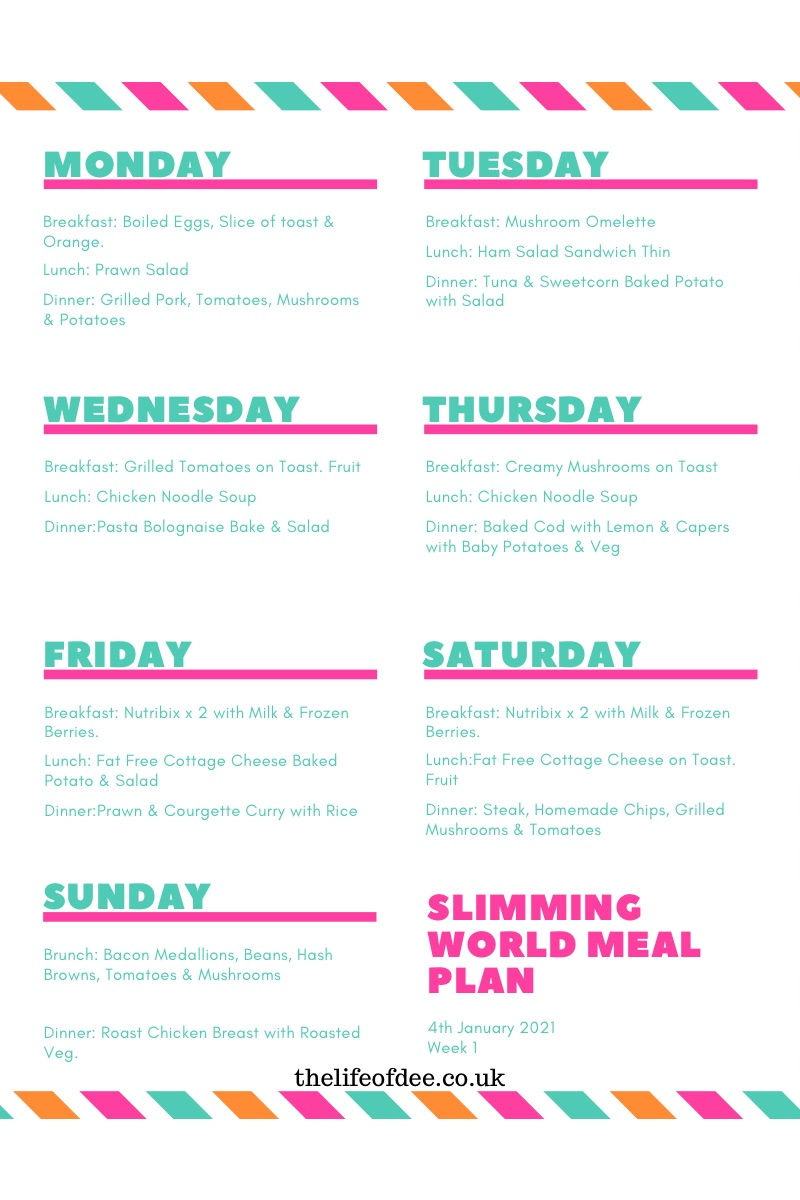 Slimming World Meal Plan 4th January | Whether you are new to Slimming World or trying to get back on track hopefully this #slimmingworld #meal #plan will help give you some #ideas.