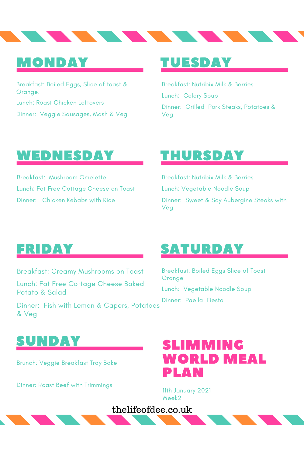 Slimming World Meal Plan 11th January | Looking for #Slimming #World #Meal #Ideas. This #meal #plan is following the #slimming #world diet