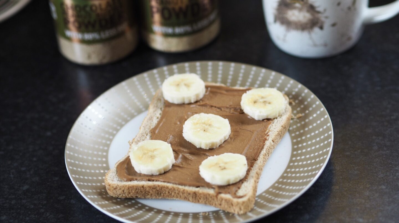 Peanut Hottie Chocolate Peanut Butter Spread on toast with Banana